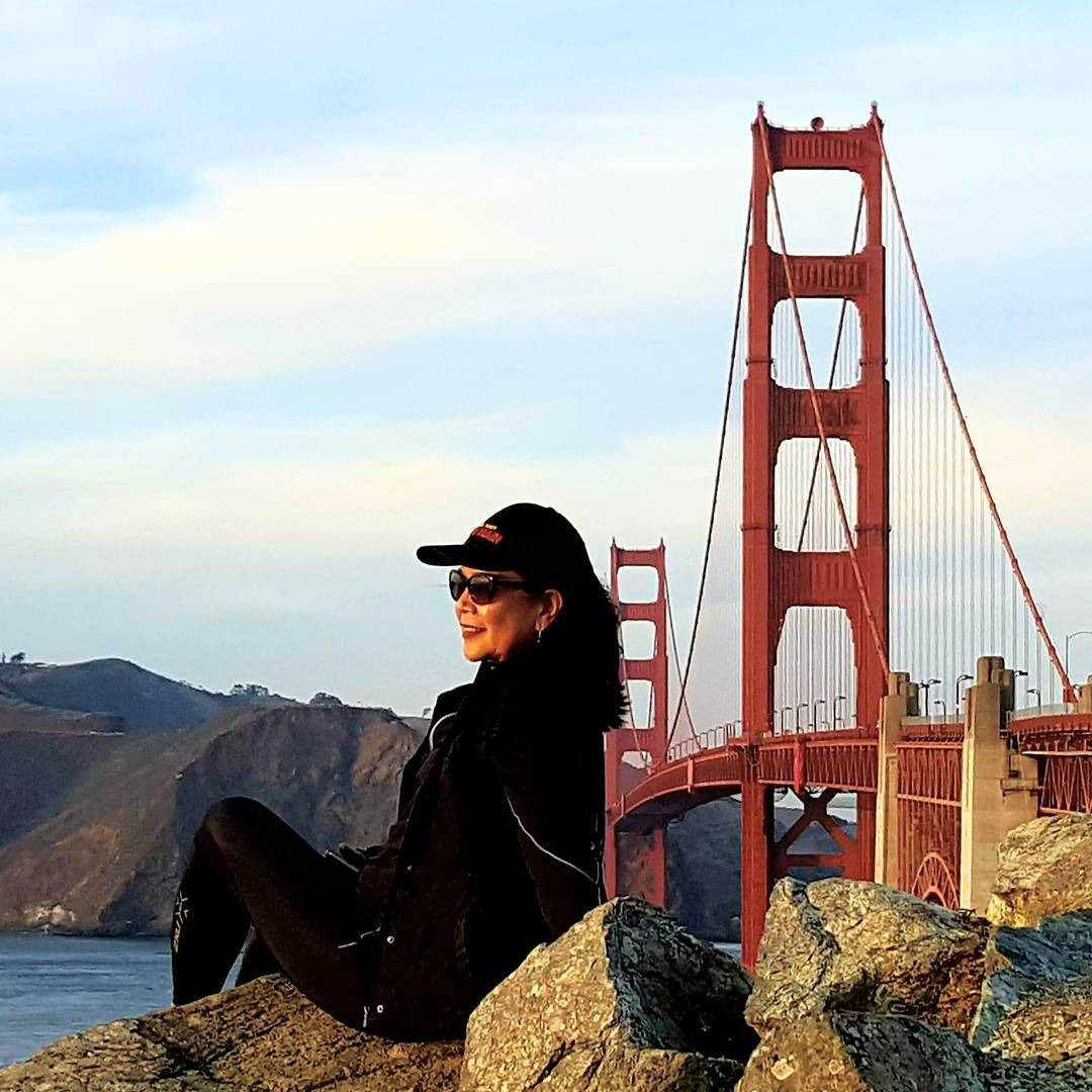 RN, May D., taking a break next to the Golden Gate Bridge in California.