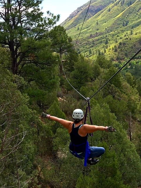 RN, Amanda M., flying free on a zip line in Durango, Co.