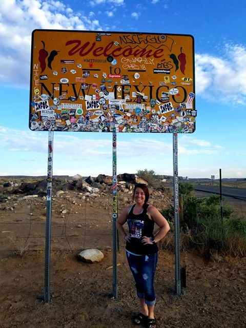 RN, Amanda M., making a quick stop at the New Mexico border.