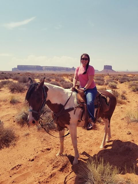 RN, Amanda M., on horseback in Monument Valley near Page, Ariz.