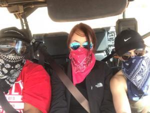 Katherine C.- ER (left), Arielle M. - ER (center) and Gabi M. – ER (right), off-roading in New Mexico.