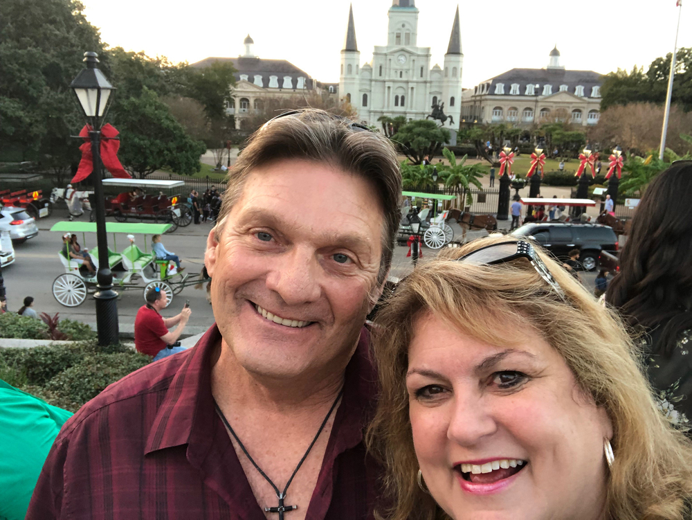 RN, Jan K., snapping a selfie with her husband Kerry while seeing the sights in New Orleans, Louis.
